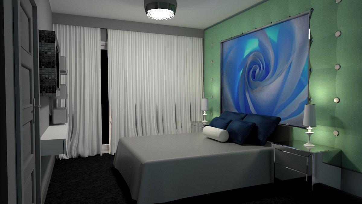 Cud Miód Plan - Projekt sypialni - Błękitna Róża